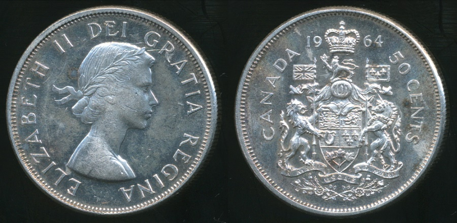 Canada 1964 UNC Proof Like Silver Fifty Cent Piece!!