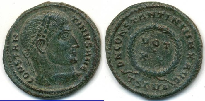 Ancient Coins - CONSTANTINE I, AE-3, AD 306-337, (19mm, 2.91 g) Thessalonica mint, Struck 320 AD - RIC 101