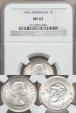 World Coins - Australia, 1956 Shilling, Elizabeth II (Silver) - NGC MS63