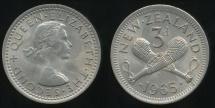 World Coins - New Zealand, 1965 Threepence, 3d, Elizabeth II - Uncirculated