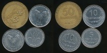 East Timor, Democratic Republic of Timor-Leste, Group of 4 Coins (2006 50 Centavos, 2004 10 Centavos, 2003 10 Centavos, 2006 5 Centavos) - Fine-Uncirculated