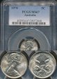 World Coins - Australia, 1970 Canberra 5 Cent, Elizabeth II - PCGS MS67