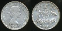 World Coins - Australia, 1955 Sixpence, 6d, Elizabeth II (Silver) - almost Uncirculated