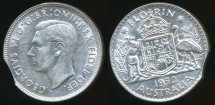 World Coins - Australia, 1952 Florin, 2/-, George VI (Bitten Edge)(Silver) - Extra Fine/almost Uncirculated