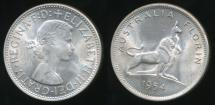 World Coins - Australia, 1954 Florin, 2/-, Elizabeth II (Royal Visit)(Silver) - Uncirculated
