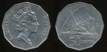 Fiji, Republic, 1987 50 Cents, Elizabeth II - Very Fine