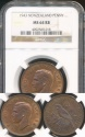 World Coins - New Zealand, 1943 One Penny, 1d, George VI - NGC MS64RB (Choice Uncirculated)
