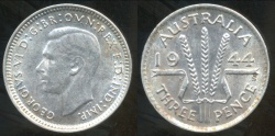 World Coins - Australia, 1944(s) Threepence, George VI (Silver) - almost Uncirculated