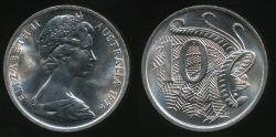 World Coins - Australia, 1976 Ten Cents, 10c, Elizabeth II - Choice Uncirculated