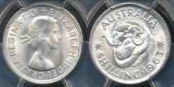 World Coins - Australia, 1963(m) One Shilling, 1/-, Elizabeth II (Silver)- PCGS MS65 (Gem Unc)