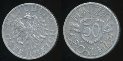 World Coins - Austria, Republic, 1946 50 Groschen - Very Fine