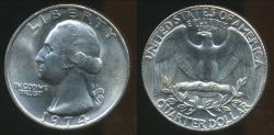 World Coins - United States, 1974 Quarter, 1/4 Dollar, Washington - Uncirculated