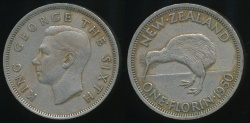 World Coins - New Zealand, 1950 Florin, 2/-, George VI - good Fine