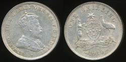 World Coins - Australia, 1910 One Shilling, 1/-, Edward VII (Silver) - Extra Fine