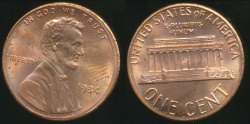 World Coins - United States, 1984-P One Cent, Lincoln Memorial - Choice Uncirculate