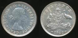 World Coins - Australia, 1962 Sixpence, 6d, Elizabeth II (Silver) - almost Uncirculated