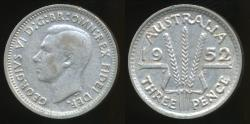 World Coins - Australia, 1952 Threepence, 3d, George VI (Silver) - Very Fine
