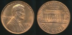 World Coins - United States, 1973 One Cent, Lincoln Memorial - Uncirculated