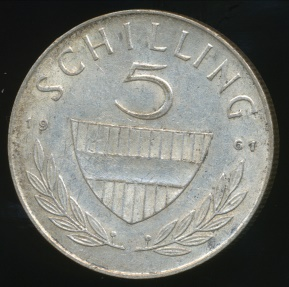 World Coins - Austria, Republic, 1961 5 Schilling (Silver) - Very Fine
