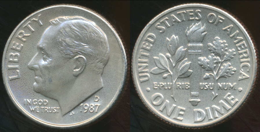 World Coins - United States, 1987-D Dime, Roosevelt - Choice Uncirculated
