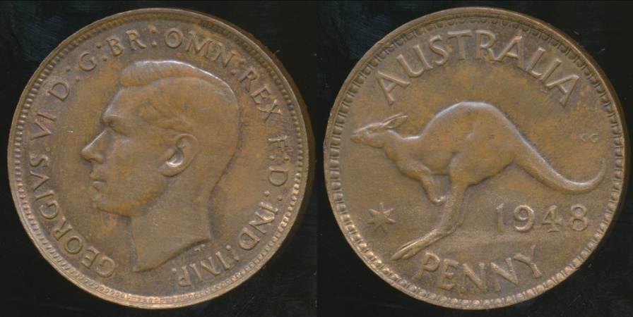 World Coins - Australia, 1948(m) One Penny, George VI - almost Uncirculated