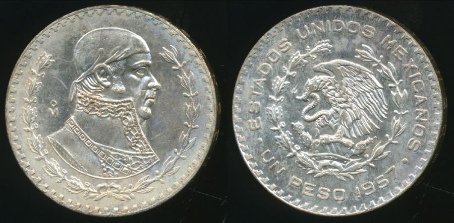 Mexico (MO) United States  city images : World Coins Mexico, United States, 1957 Mo Peso Silver ...