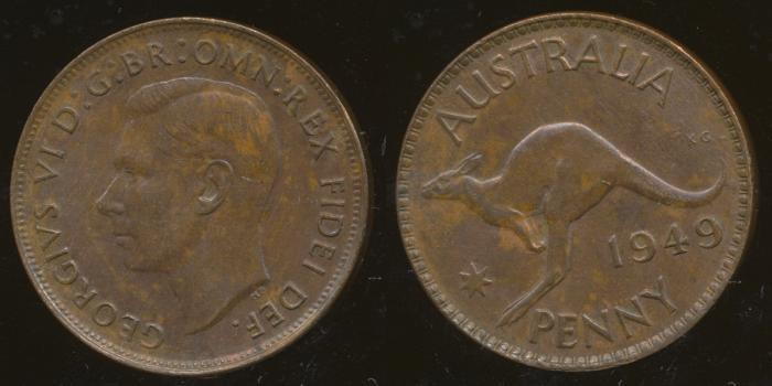 World Coins - AUSTRALIA - 1949, One Penny, George VI - aUnc