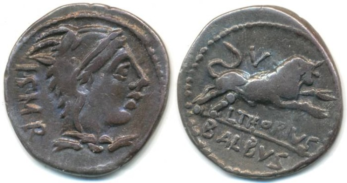 Ancient Coins - ROMAN REPUBLIC - L. Thorius Balbus, AR Denarius, (c.105 B.C.), (20mm, 3.85 g) Rome mint