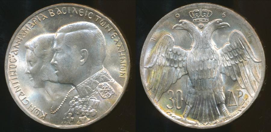 GREECE 30 DRACHMAI 1964 SILVER COIN HIGH GRADE