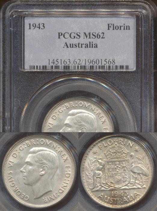 World Coins - Australia, 1943(m) Florin, George VI - PCGS MS62