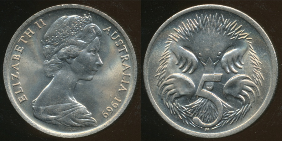 1979 5 cent coin  from a Mint roll