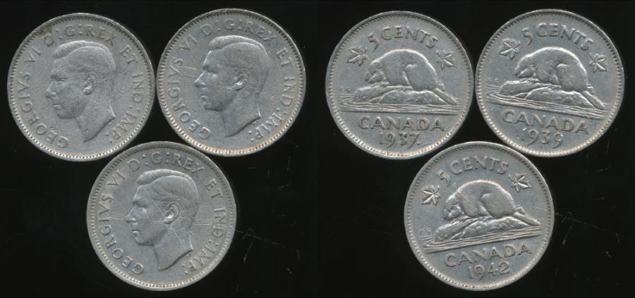 Canada 1937 5 Cent Coin.