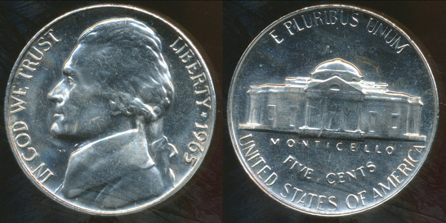 World Coins - United States, 1965-SMS 5 Cents, Jefferson Nickel - Proof Like