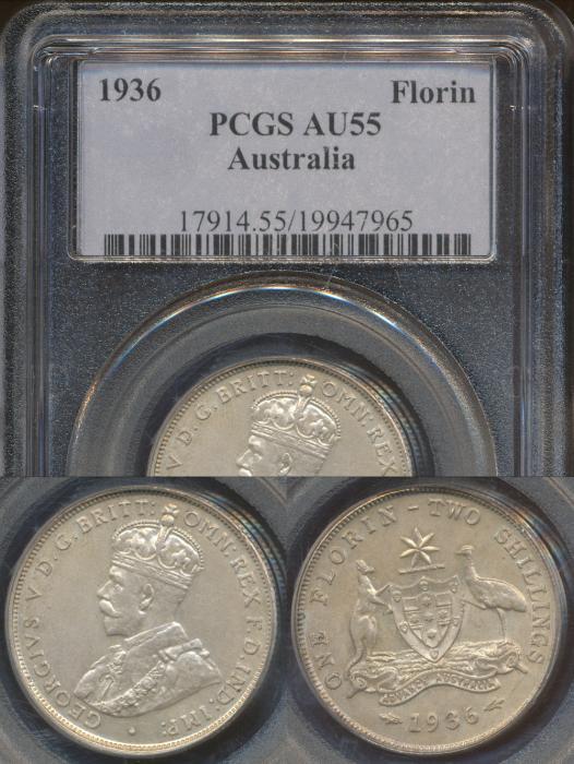 World Coins - Australia, 1936 Florin, George V - PCGS AU55