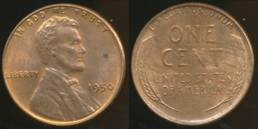 World Coins - United States, 1950 One Cent, Lincoln Wheat - almost Uncirculated