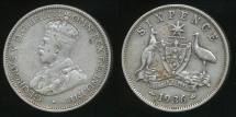 World Coins - Australia, 1936 Sixpence, 6d, George V (Silver) - Fine