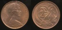World Coins - Australia, 1966(p) Two Cents, 2c, Elizabeth II - Uncirculated