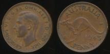 World Coins - Australia, 1943(I) One Penny, 1d, George VI - Fine