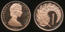 World Coins - New Zealand, 1985 One Cent, 1c, Elizabeth II - Proof