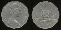 Fiji, Republic, 1976 50 Cents, Elizabeth II - Very Fine