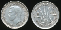 World Coins - Australia, 1944(s) Threepence, 3d, George VI (Silver) - Extra Fine
