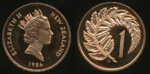 World Coins - New Zealand, 1986 One Cent, 1c, Elizabeth II - Proof
