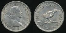 World Coins - New Zealand, 1965 Sixpence, 6d, Elizabeth II - Uncirculated