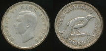 World Coins - New Zealand, 1944 Sixpence, 6d, George VI (Silver) - Fine