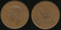World Coins - New Zealand, 1943 One Penny, 1d, George VI - Very Fine