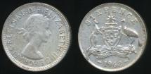 World Coins - Australia, 1962 Sixpence, 6d, Elizabeth II (Silver) - Fine