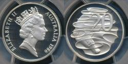 World Coins - Australia, 1986 Twenty Cents, 20c, Elizabeth II - PCGS PR69DCAM (Proof)