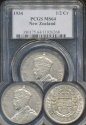 World Coins - New Zealand, 1934 1/2 Crown, George V (Silver) - PCGS MS64 (Choice Uncirculated)