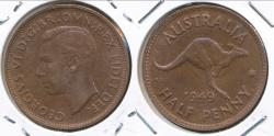 World Coins - Australia, 1949(p) Halfpenny, 1/2d, George VI - Uncirculated