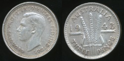 World Coins - Australia, 1943(m) Threepence, 3d, George VI (Silver) - Extra Fine